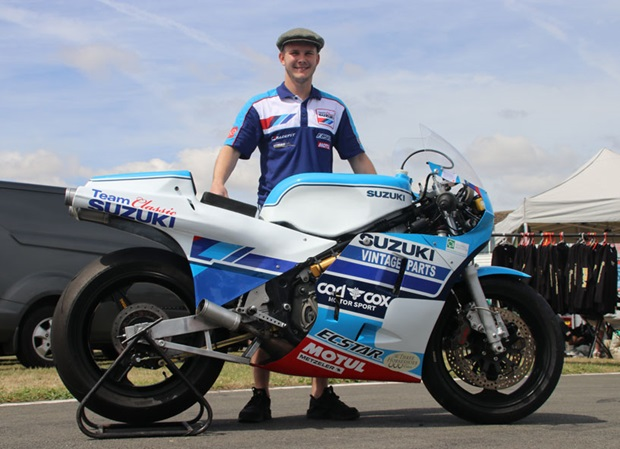 Danny Webb with the RG500 he'll campaign at Classic TT 2018.