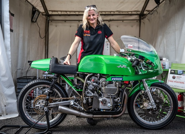 Maria Costello with the Buegger Racing Paton she'll campaign in the Bennett's Senior Classic TT Race