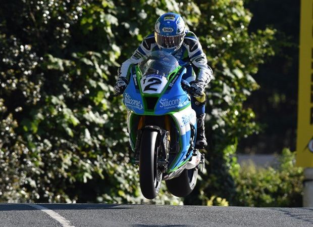 Dean Harrison leaping Ballaugh Bridge in Tuesday night's qualifying session. Photo RP Watkinson