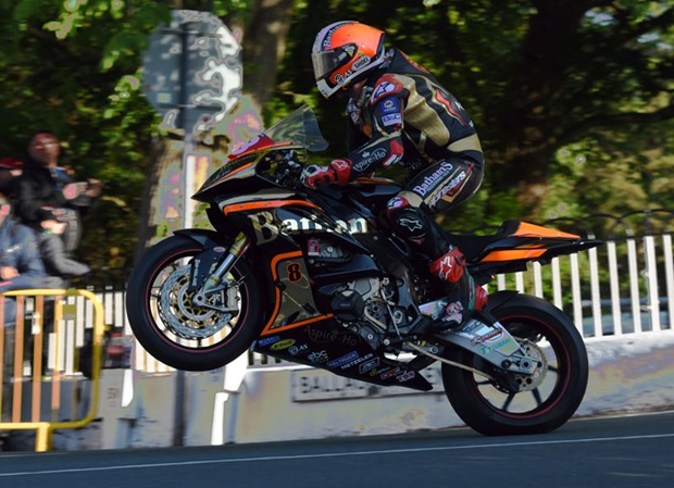 Michael Rutter lands over the Ballaugh Bridge jump on his Bathams Racing BMW Superstock machine. RP Watkinson.