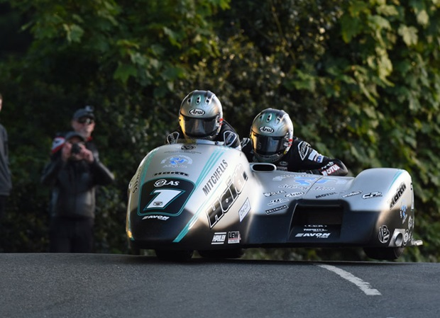 Ben and Tom Birchall at Ballaugh Bridge during qualifying for TT 2019. Photo RP Watkinson