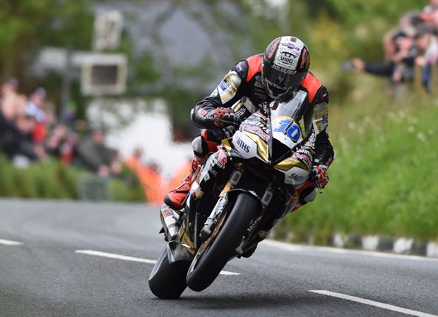 Peter Hickman at Barregarrow during Monday's truncated Monster Energy Supersport TT Race 1. Photo RP Watkinson