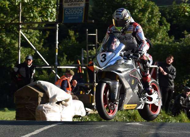 John McGuinness takes Ballaugh Bridge on the Norton Superbike during Tuesday's practice session. Photo RP Watkinson