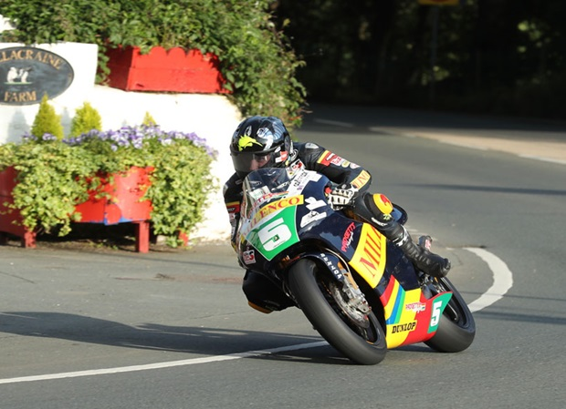 Bruce Anstey on the Milenco by Padgett's Honda RS250 at Ballacraine on Monday Evening. Photo credit: Dave Kneen / IOM Government