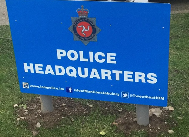 Police headquarters sign: Credit IOM Police Media facebook page