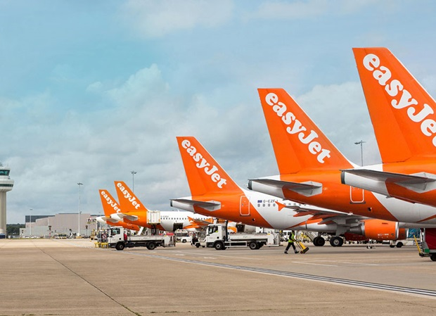 easyJet aircraft lined up at London Gatwick airport. Credit: easyjet.com