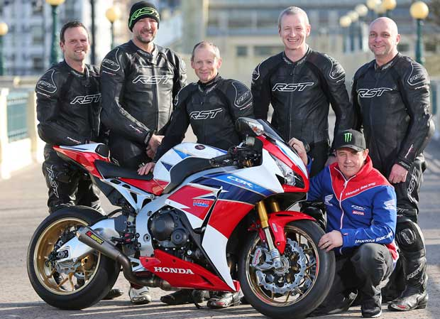 John McGuinness with the Isle of Man TT travelling marshals